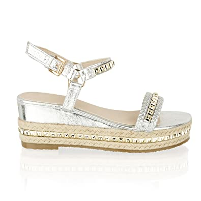 57f0139e3ad Taylor-Unikue Womens Ladies Low Wedge Heel Espadrille Platform Stud Strappy  Summer Sandals  Amazon.co.uk  Shoes   Bags
