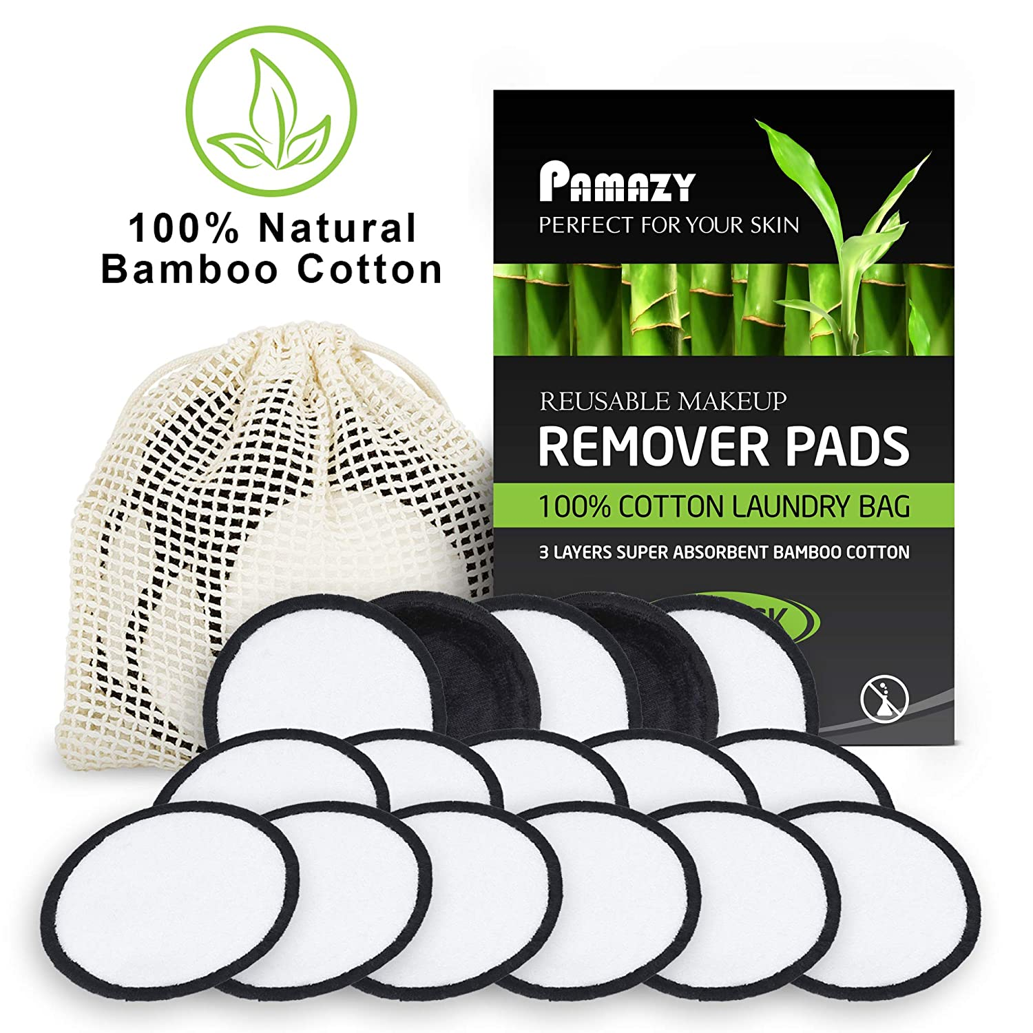 LUXURY Reusable Makeup Remover Pads by PAMAZY- 20 Pack With 100% Cotton Laundry Bag - 3 Layers of Natural Bamboo Fabric - Two Tone Microfiber - Washable and Eco-Friendly (black and white)