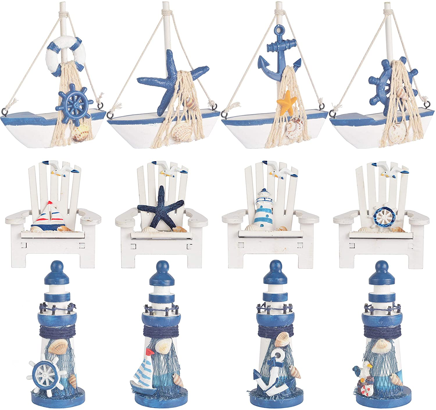 Wooden Mini Lighthouse, Mini Beach Chair Ornaments and Mini Sailboat Model Decoration, Wooden Chair Ornament and Mini Sailboat Model Decoration, Set of 12 Different Design Wooden Decorative Sailboats