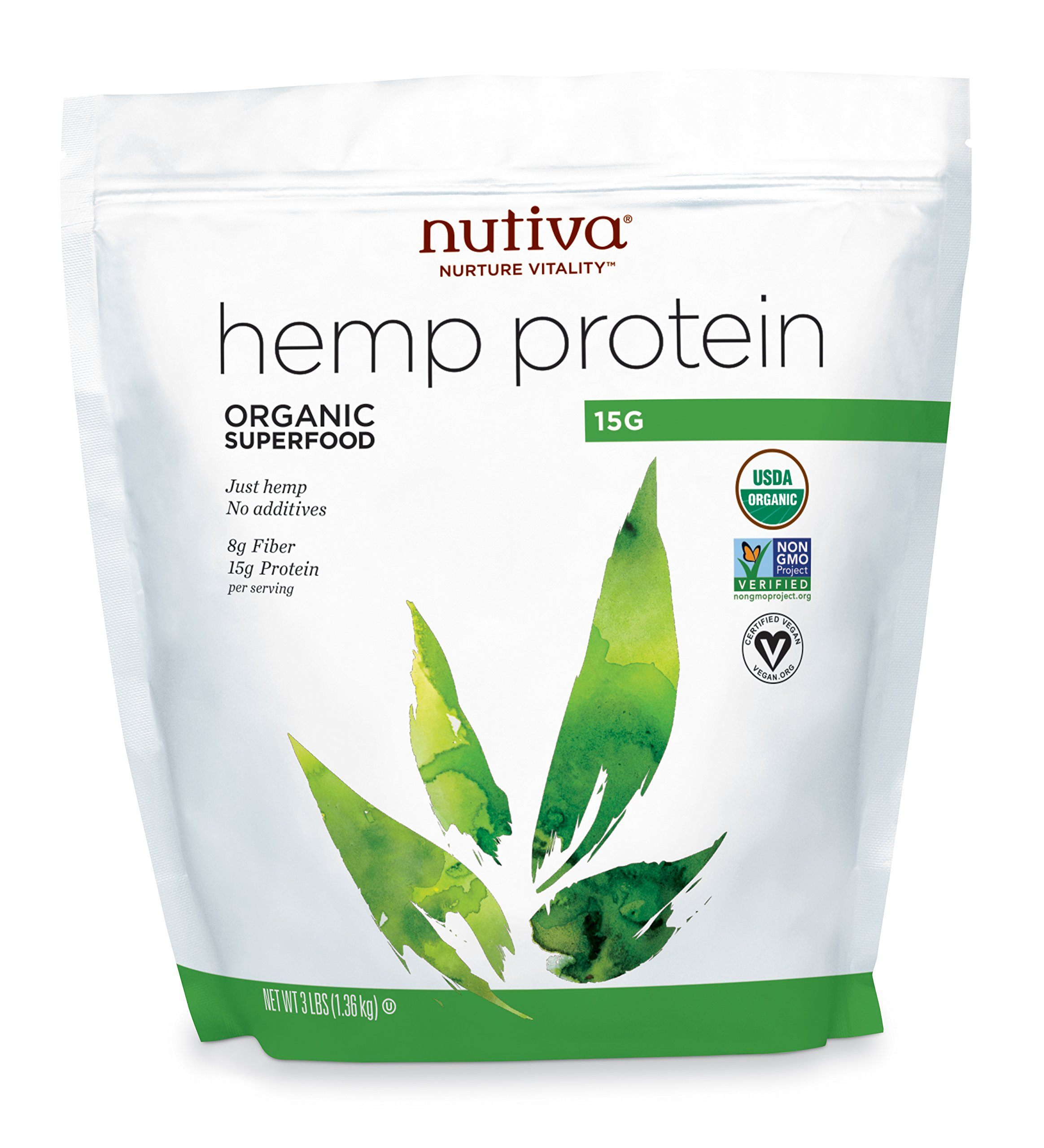 Nutiva Organic, Cold-Processed Hemp Seed Protein from non-GMO, Sustainably Farmed Canadian Hempseed, 15 G, 3-pound