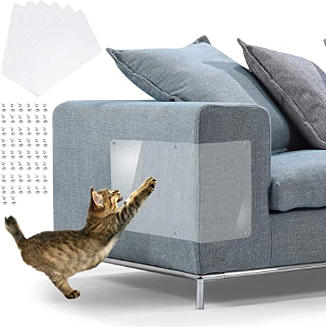 Protecting Your UpholsteredFurniture 6 Packs Premium Flexible Clear Cat Scratch Protector with Stop Cat Claws from Shredding Your Couch in Hand Furniture Scratch Guards