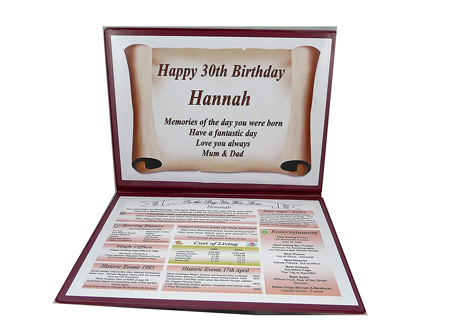THE DAY YOU WERE BORN HAPPY 30TH  BIRTHDAY  GIFT IDEAL KEEPSAKE.