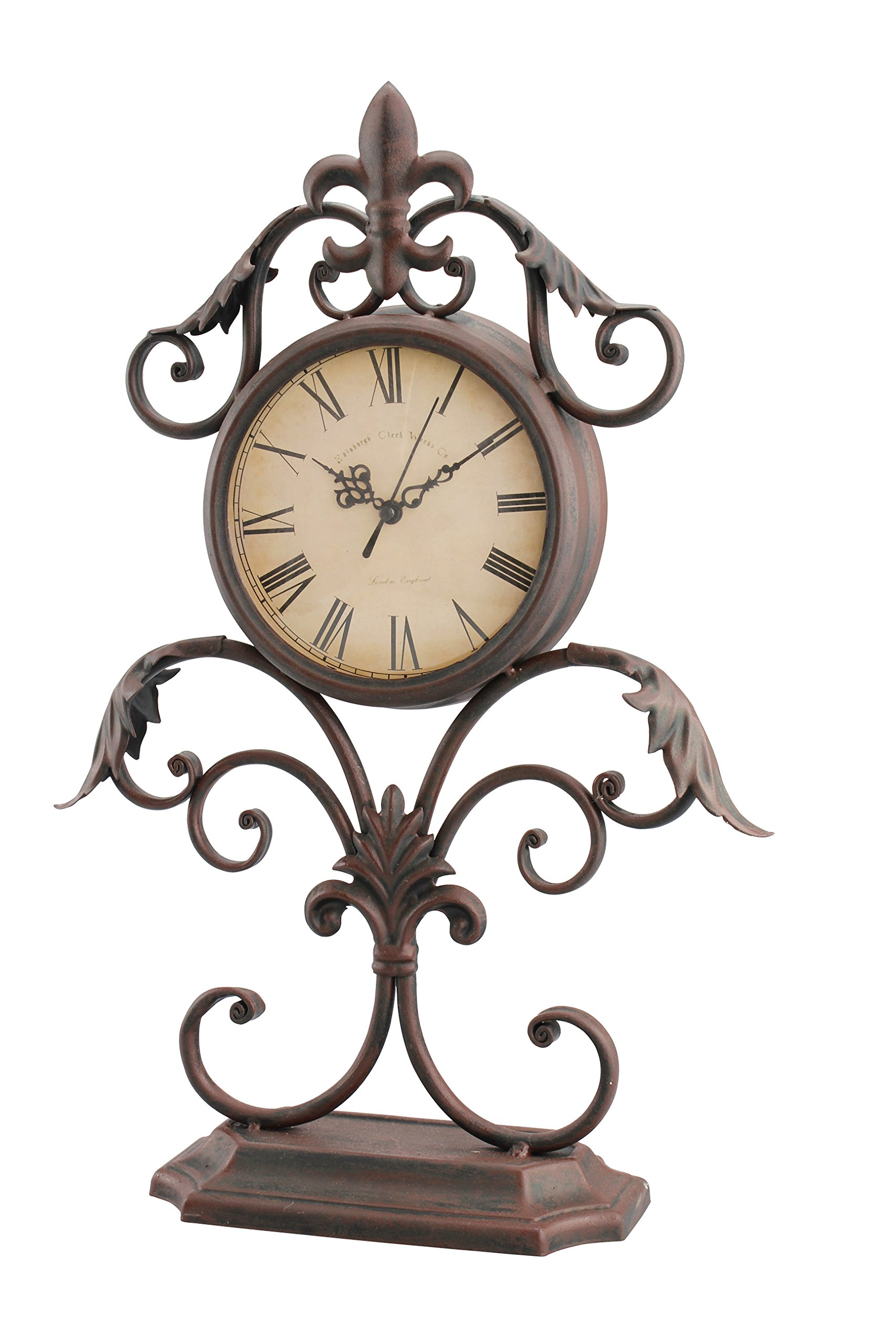 Stonebriar Fleur De Lis Table top Clock - This unique clock measures 12.1 inches in height and 9.9 inches in width and is the perfect size for the kitchen, living room, bathroom, or bedroom Antique clock features a vintage round Roman numeral clock face on a decorative scrolled metal and fleur de lis stand for an elegant Victorian feel Stonebriar's rustic table top clock is the perfect gift for Christmas, birthdays, housewarmings, weddings, or any special occasion - clocks, bedroom-decor, bedroom - 81LxkZ3SfCL -
