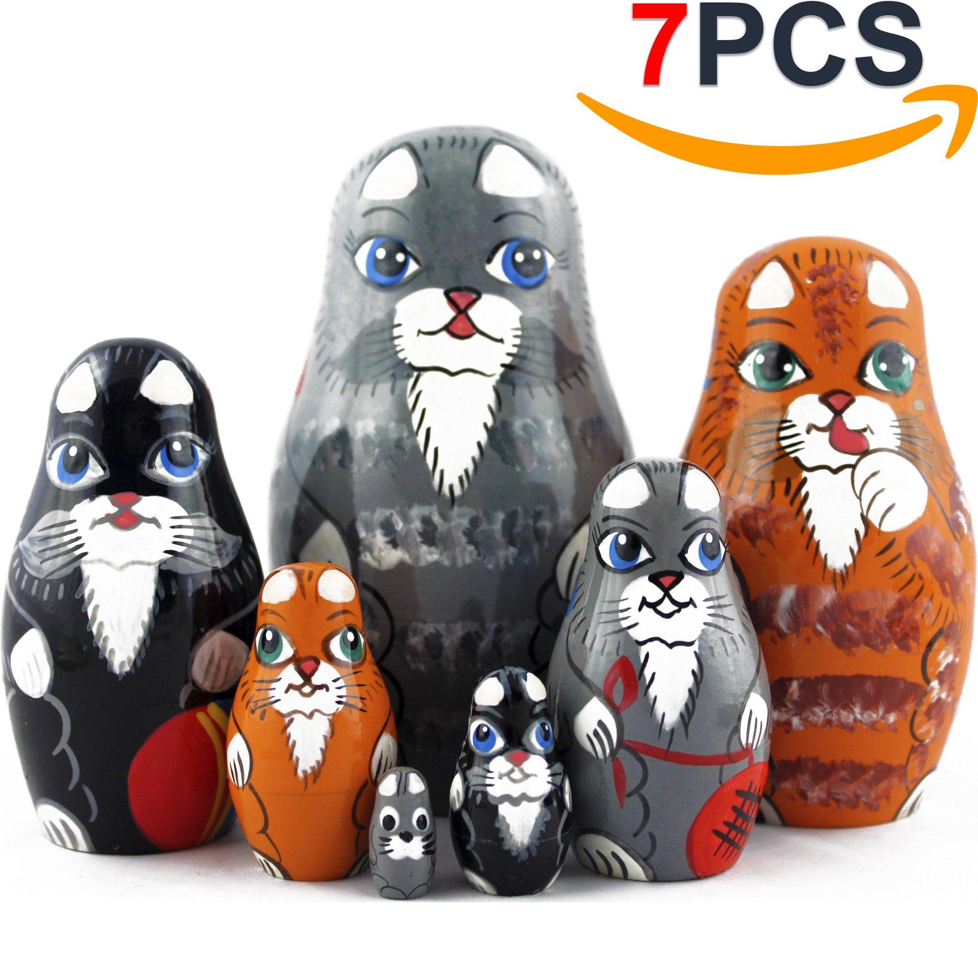 Cat Matryoshka Nesting Dolls - Cat Kitty Figures Doll - Kitten Toys Doll - Toy Cats Set 7 pieces