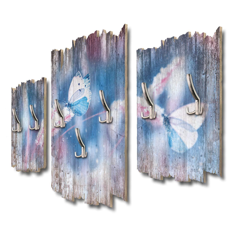 Kreative Feder Schmetterlinge im Schnee Designer Wandgarderobe Flurgarderobe Wandpaneele 95 x 60 cm aus MDF DTGH088
