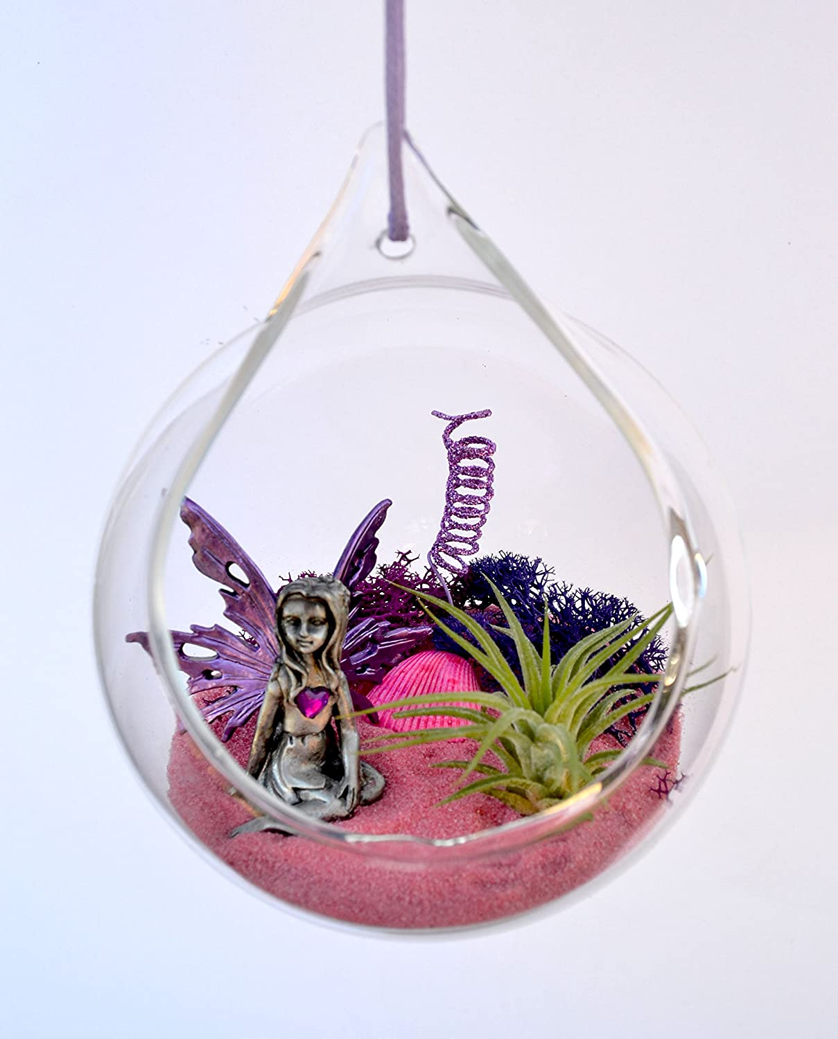 Pixie Glare Hanging Terrarium Fairy Garden Kit. Valentine s Magical Forrest Purple Heart Fairy Kit