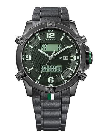 Tommy Hilfiger 1790782 - Reloj de Caballero movimiento de quarzo, correa de caucho color negro: Amazon.es: Relojes