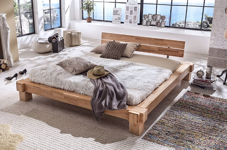 Holzwerk Massivholzbett Palermo Doppelbett Bett Massiv Kernbuche Balkenbett Neu Größen Frei wählbar (200x200)