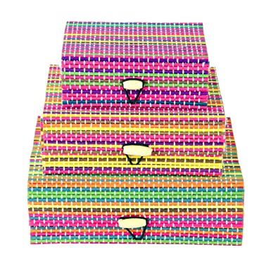 f18876f20a Buy Stripes Handmade Bamboo Wooden Jewelry Box Organizer - Pack Of 3  (Colourful) Online at Low Prices in India