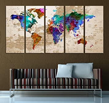 Amazon push pin world map canvas print watercolor wall art5 push pin world map canvas print watercolor wall art5 panel extra large wall art t584 gumiabroncs Image collections