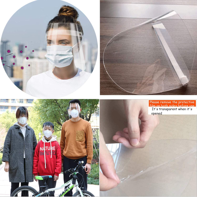 Elastico esterno regolabile anti saliva per faccia intera con protezione individuale riutilizzabile per il viso 2pcs Sicurezza Chiaro Viso Scudo Protettivo