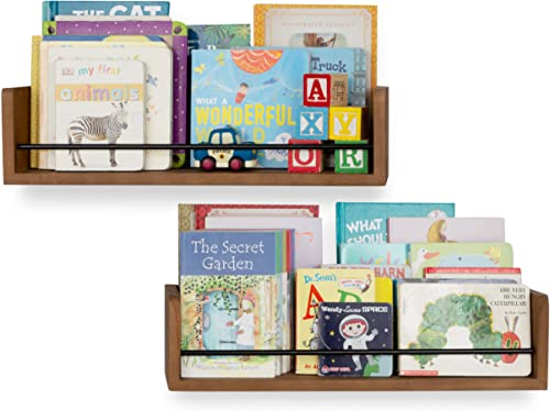 Rustic State Solid Wood Baby Nursery Kids Room Bookshelf Farmhouse Wall Shelves Walnut Set of 2