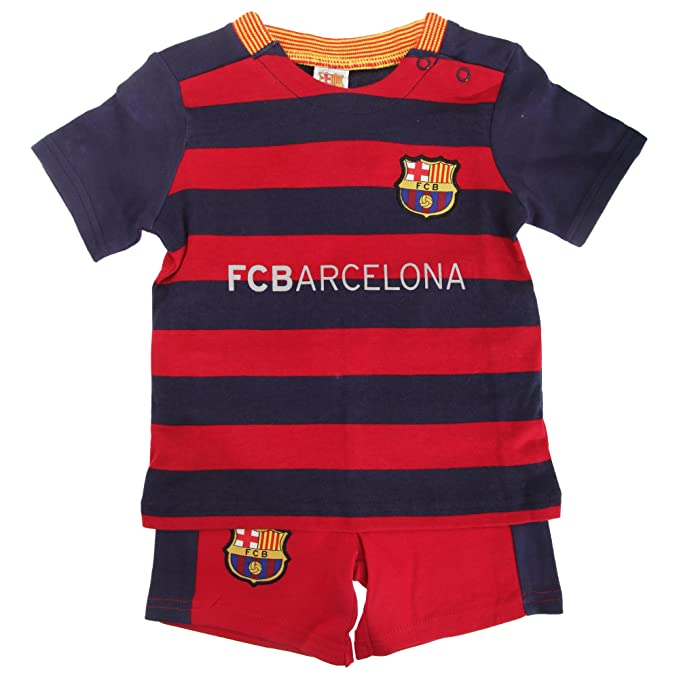 2b9b4a8be FC Barcelona Official Baby Football Crest T-Shirt   Shorts Set (3-6 Months)  (Scarlet Blue)  Amazon.in  Clothing   Accessories
