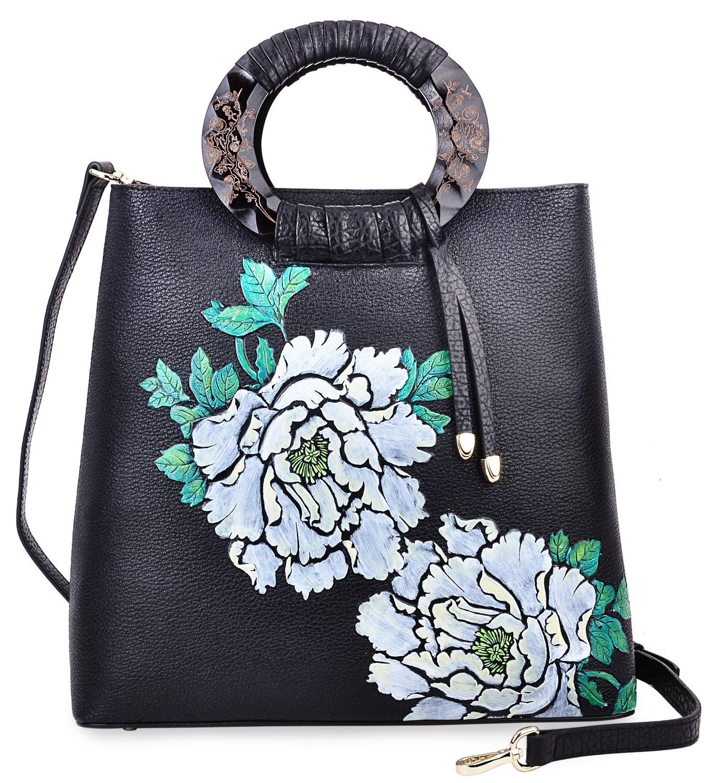 Pijushi Designer Floral Purses Women's Top Handle Handbag Leather Tote Bag Holiday Gift 6013 (Peony Floral Black/Lemon Yellow)