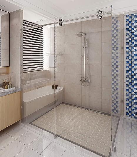 Amazon Com Diyhd 6 6ft Stainless Steel Satin Sliding Shower Barn