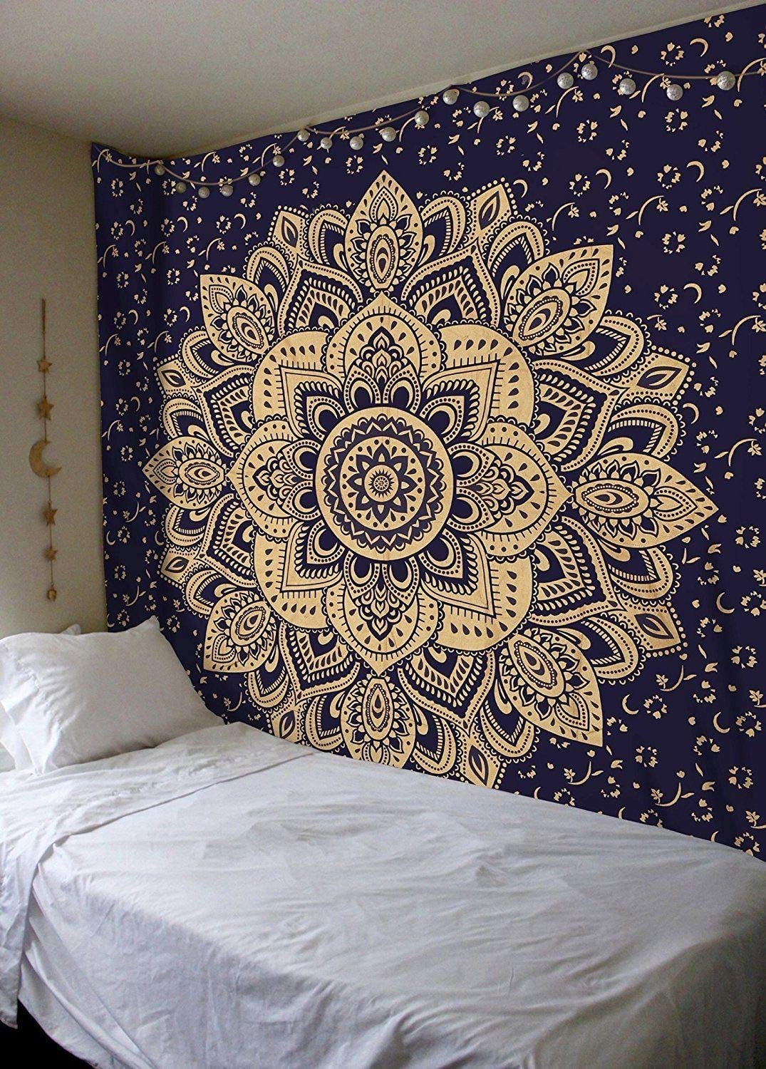 Royal Furnish Blue and Gold Tapestry Bohemian Mandala Bedspread Indian Hippie Tapestry Wall Hanging Bedding Tapestry Bedroom Bed Sheet Boho Bedspread Wall Decor Art (Queen, Blue & Gold) RHTB152