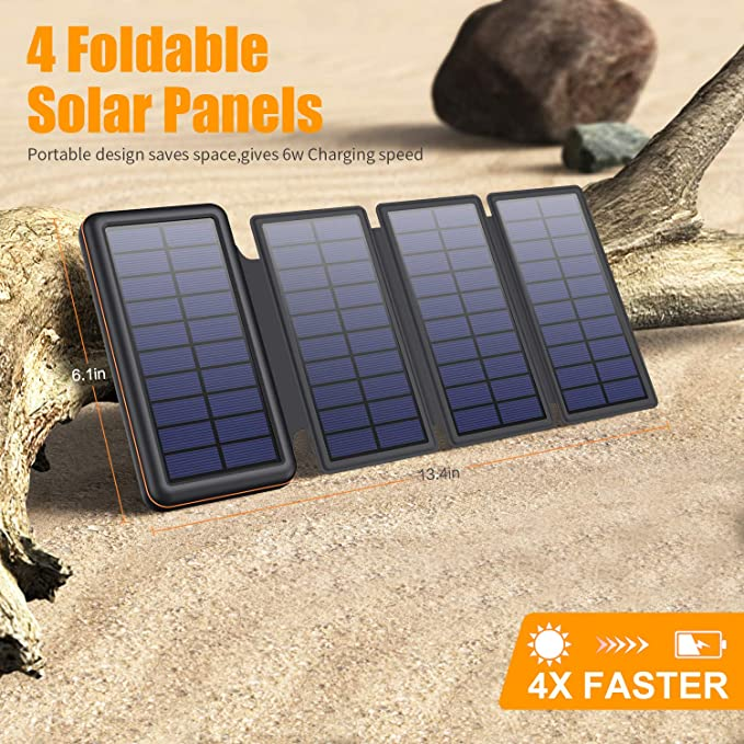 SWEYE Cargador Solar Móvil 26800mAh,【4 Paneles Solares Desmontable/Type-C Carga Rápida】 Batería Externa Móvil con 2 Puertos USB 3.1A Power Bank Solar ...