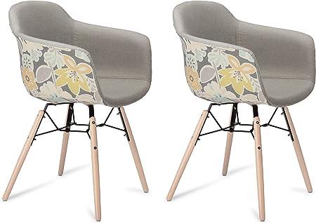 Furnhouse Moderne Scandinave Rétro Vintage Design Chaise de salle à manger Flame, Jaune Gris Tissu, Hêtre Bois, Métal Naturel Pieds, Lot de 2,