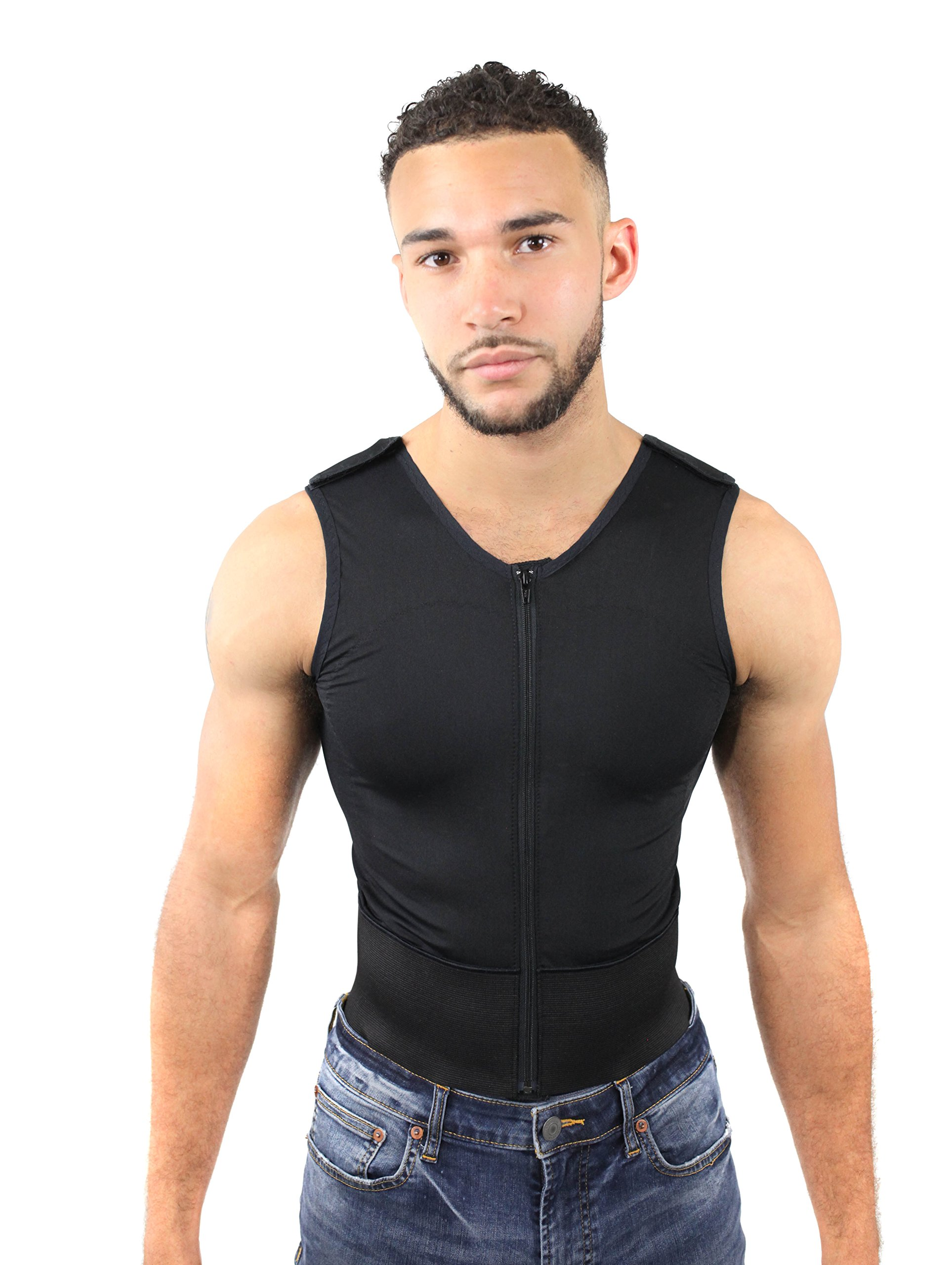 ContourMD Men's Abdominal Binder, Gynecomastia Compression Vest, Male Weight Loss (S11)