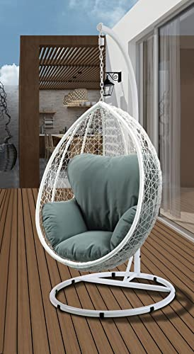 Major-Q Patio Swing Chair with Stand in Green Fabric and White Wicker