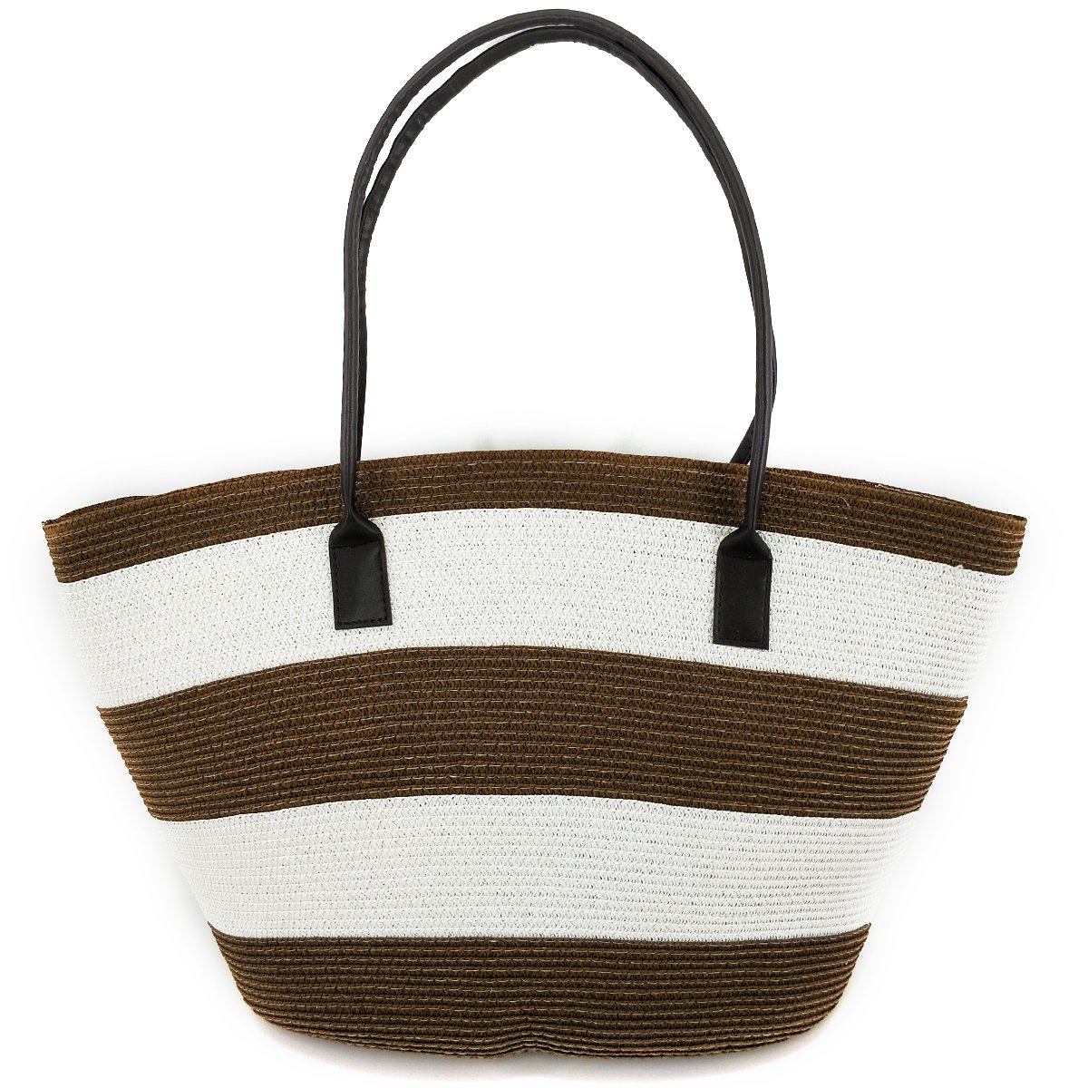 Women Handmade Straw Beach Bag, Straw Tote, Straw Handbag with Leather Handle for Summer (Style 03)