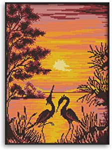 Funchey Cross Stitch Kits Stamped Full Range of Patterns Embroidery Starter Kits for Adult Beginners and Kids DIY Printed Cross-Stitch Kits for Home Decor-The Crane Shadow in Sunset 15.4×20.1 inch