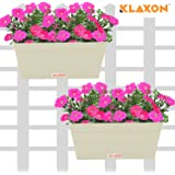 "Klaxon Railing Planters - 12""Rectangle Balcony Railing Planter, Railing Flower Garden Pots and Wall Planters for Balcony - Beige Metal- 2 PCS"