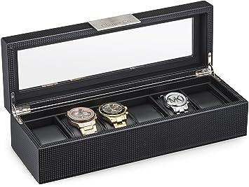 amazon com watch box for men 6 slot luxury carbon fiber design watch box for men 6 slot luxury carbon fiber design mens display case large