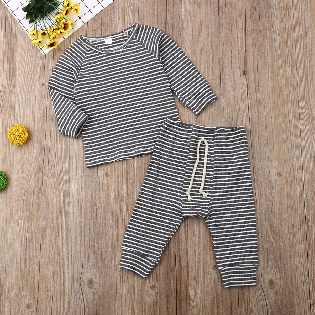 ITFABS Cute Baby Boys Girls Pajamas Set Cotton Solid Pjs Sleepwear Toddler Baby Long Sleeve Sleeper Home Wear
