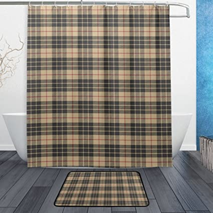 ALAZA Black And Yellow Plaid With Red Stripe Shower Curtain 60 X 72 Inch Bath