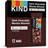 KIND Healthy Snack Bar, Dark Chocolate Mocha Almond, 5g Sugar | 5g Protein, Gluten Free Bars, 1.4 OZ, 12 Count