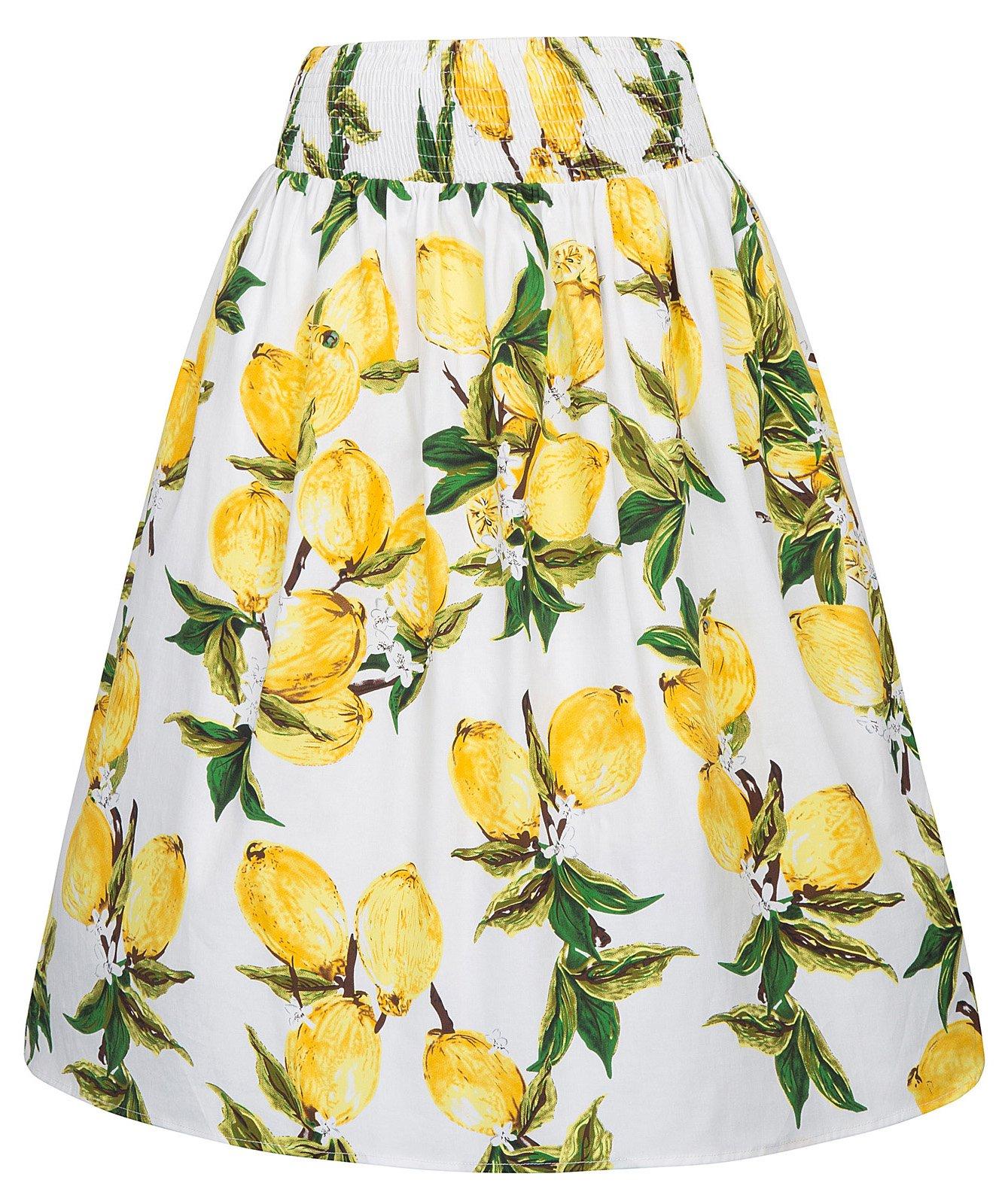 Kate Kasin 50's Style Flared Skirt Lemon Print Yellow Skirt Elastic Waist