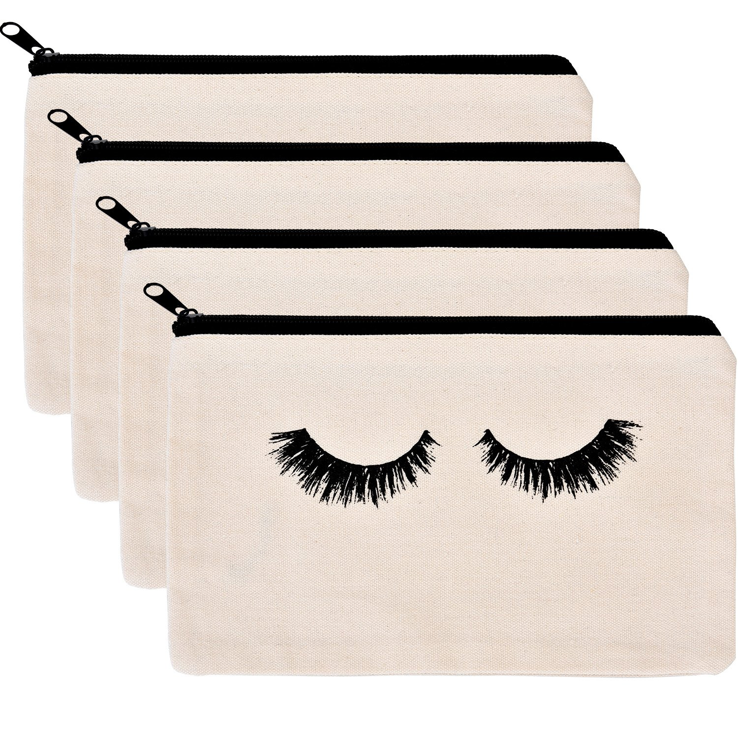 BBTO 4 Pack Makeup Bag Cosmetic Pouch Makeup Pouch Travel Toiletry Eyelash Case with Zippered Pocket