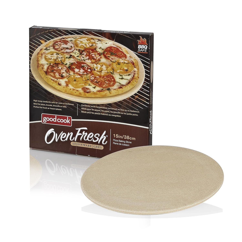 "Good Cook OvenFresh Stoneware BBQ Grill and Oven Pizza Stone, 14.75"", White"