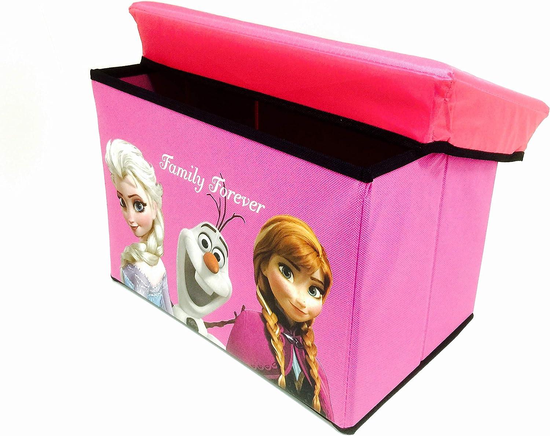 Frozen. Princess Elsa Anna & Olaf Foldable Storage Box & Stool (HOT Pink)