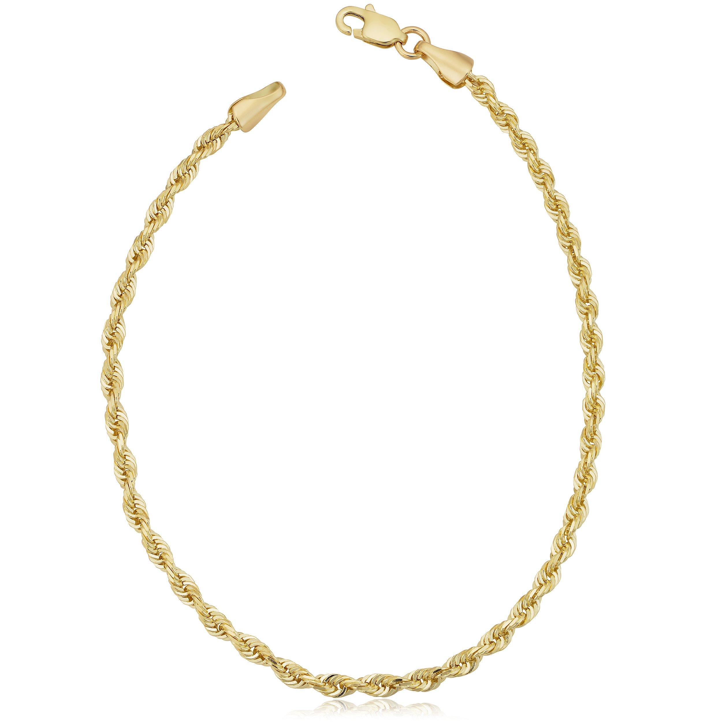 10k Yellow Gold 2.6mm Men's Or Women's Rope Chain Bracelet (8.5 inch)