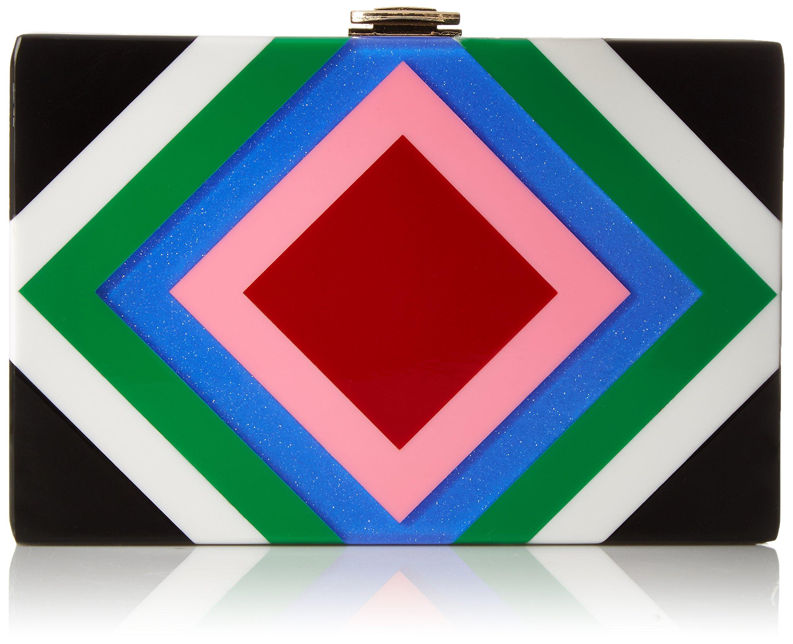 MILLY Diamond Square Box Clutch, Multi