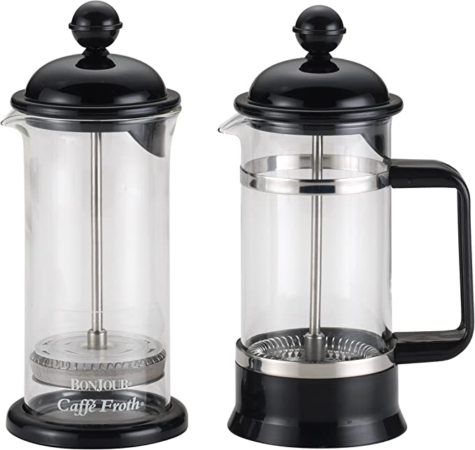 Amazon Com Bonjour 3 Cup 12 7 Oz La Petite Frother Set Borosilicate Glass French Press 12 7 Oz Black Kitchen Dining