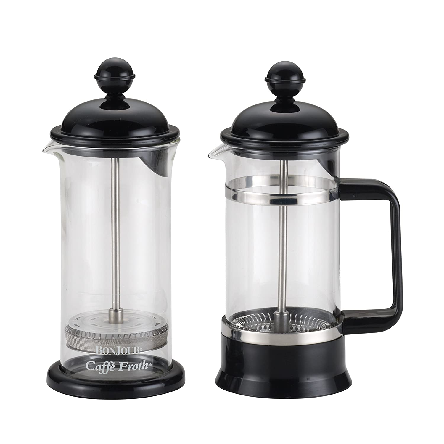 BonJour 53521 3-Cup 12.7-Oz. La Petite Frother Set Borosilicate Glass French Press, 12.7 oz, Black