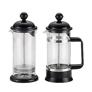 BonJour 53521 3-Cup/12.7-Oz. La Petite Frother Set Borosilicate Glass French Press, 12.7 oz, Black