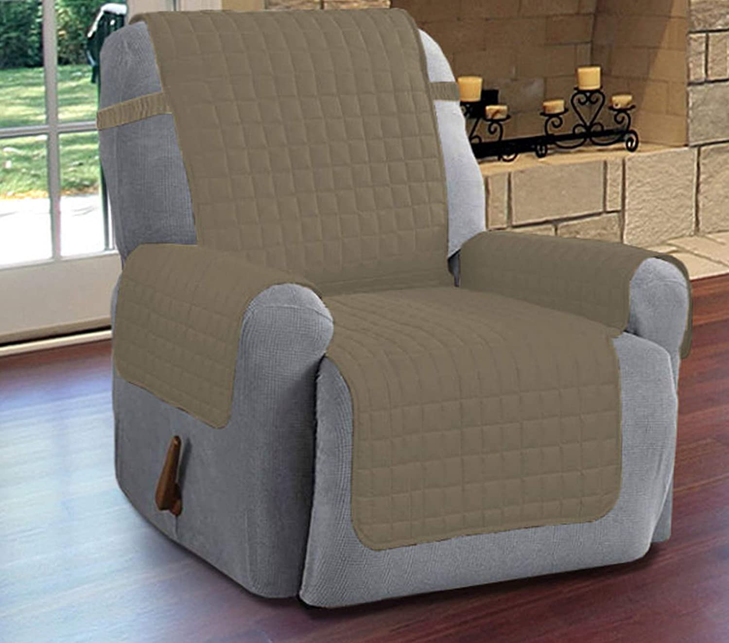 Linen Store Quilted Microfiber Slipcover Recliner Furniture Protector with Adjustable Straps Machine Washable Perfect for Pets & Children