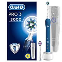 Oral-B Pro 3 3000 CrossAction Electric Toothbrush Rechargeable Powered By Braun, 1 Handle, 2 Modes Including Gum Care, 2 Toothbrush Heads