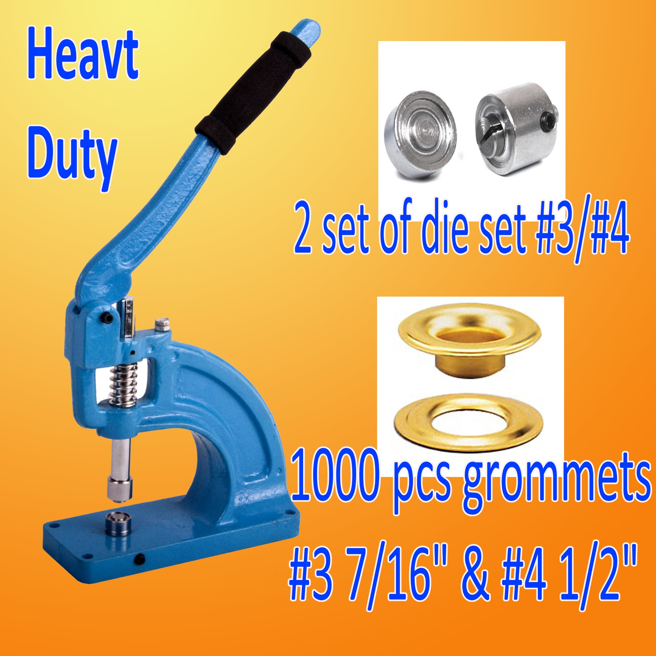 DSM TM Professional Grade Grommet Machine w/ 2 Die Sets (#3 & #4) and 1000 Grommets Hand Eyelet Press Hole Punch Tool