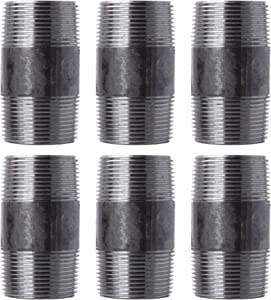 """Pipe Decor 1"""" x 2.5"""" Malleable Cast Iron Pipe, Pre Cut Connector, Industrial Steel Grey Fits Standard One Inch Black Threaded Pipes Nipples and Fittings, Build Vintage DIY Furniture, One Inch, 6 Pack"""