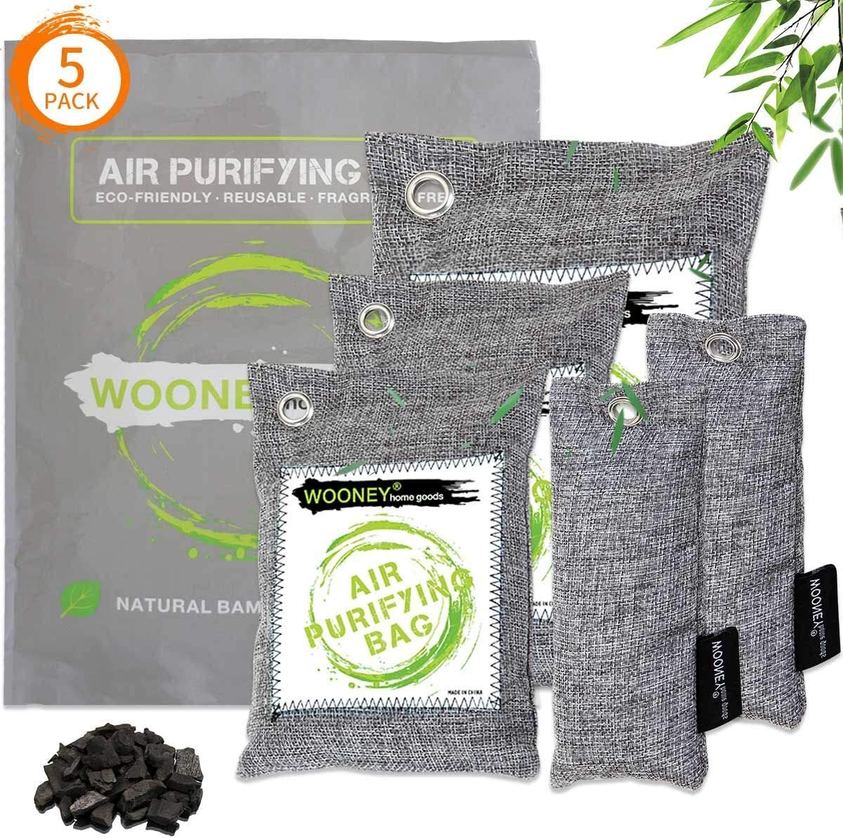 WOONEY Bamboo Charcoal Air Purifying Bag 5-Pack, Powerful Activated Charcoal Bags Odor Absorber to Freshen Air Kid and Pet-Friendly for Home Shoe Room