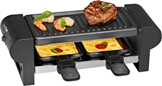 Clatronic RG 3592 2-Personen-Raclette-Grill zum Grillen und Überbacken, Cool-Touch-Gehäuse, 2 Pfännchen, antihaftbeschichtet, schwarz