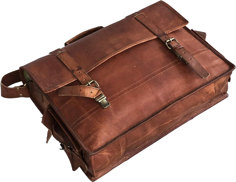 Leather Briefcase Bag Leather Satchel Bag Messenger Bag for Men Leather Crossbody Bag Travel Bag Leather Messenger Bag Briefcase Bag for Men Leather Computer Bag Brown - 18 Inch Simple