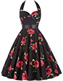 GRACE KARIN Women Vintage 1950s Halter Cocktail Party Swing Dress With Sash
