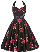 GRACE KARIN Women Vintage 1950s Polka Dots Rockabilly Dress with Sash