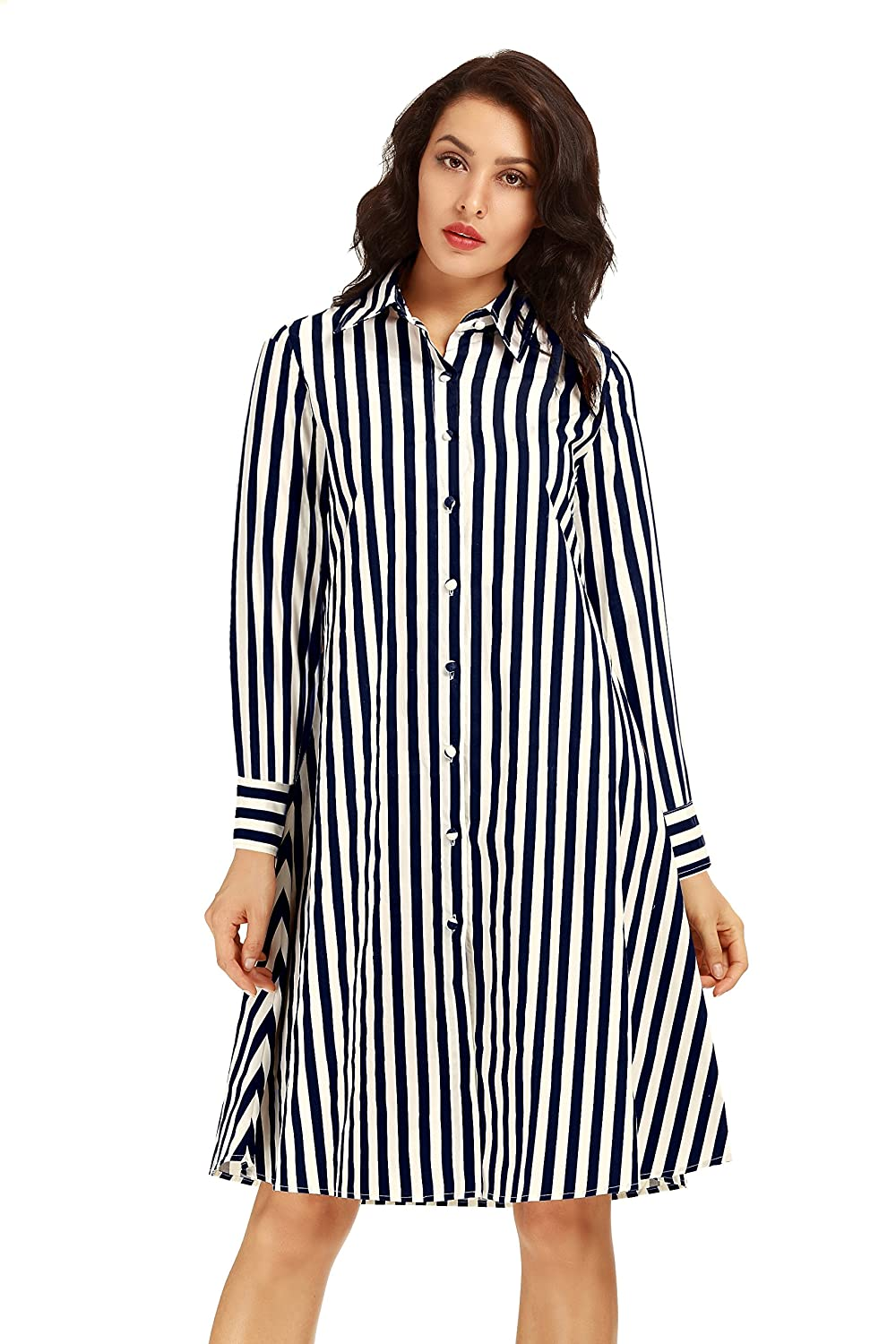 Neo Wows Womens Casual Stripe Cotton Short Sleeve Button Down Shirt